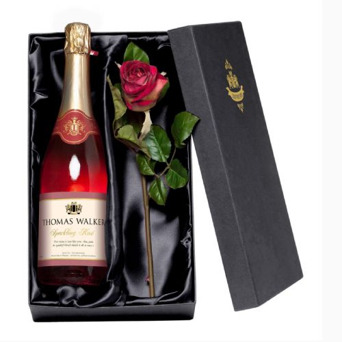 Personalised Any Occasion Sparkling Rosé Wine with a Rose Giftpack